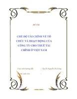 ĐỀ TÀI : CHẾ ĐỘ TÀI CHÍNH VỀ TỔ CHỨC VÀ HOẠT ĐỘNG CỦA CÔNG TY CHO THUÊ TÀI CHÍNH Ở VIỆT NAM potx