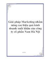Giải pháp Marketing nhằm nâng cao hiệu quả kinh doanh xuất khẩu của công ty cổ phần Nam Hà Nội pptx