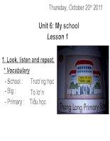 Giáo án điện tử tiểu học: tiếng anh lớp 3- lesson 1 unit 6 docx