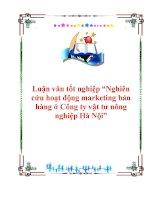 """Luận văn """"Nghiên cứu hoạt động marketing bán hàng ở Công ty vật tư nông nghiệp Hà Nội"""" pdf"""