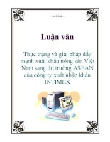 Luận văn: Thực trạng và giải pháp đẩy mạnh xuất khẩu nông sản Việt Nam sang thị trường ASEAN của công ty xuất nhập khẩu INTIMEX potx