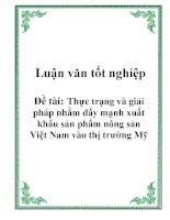 Luận văn tốt nghiệp: Thực trạng và giải pháp nhằm đẩy mạnh xuất khẩu sản phẩm nông sản Việt Nam vào thị trường Mỹ pdf