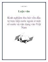 Luận văn: Kinh nghiệm thu hút vốn đầu tư trực tiếp nước ngoài ở một số nước và vận dụng vào Việt Nam pot