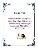 Luận văn: Phân tích thực trạng hoạt động bán hàng đối với sản phẩm đường của công ty thực phẩm Miền Bắc - FINOXIM pot