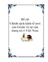 Đề tài: Chính sách kinh tế mới của Lênin và sự vận dụng nó ở Việt Nam pdf