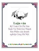 Luận văn: Kế Toán Chi Phí Sản Xuất Và Tính Giá Thành Sản Phẩm của doanh nghiệp Cảng Hà Nội. pot