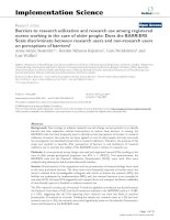 Barriers to research utilization and research use among registered nurses working in the care of older people: Does the BARRIERS Scale discriminate between research users and non-research users on perceptions of barriers? potx