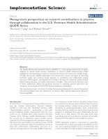Management perspectives on research contributions to practice through collaboration in the U.S. Veterans Health Administration: QUERI Series pptx