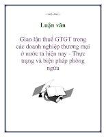 Luận văn: Gian lận thuế GTGT trong các doanh nghiệp thương mại ở nước ta hiện nay - Thực trạng và biện pháp phòng ngừa potx