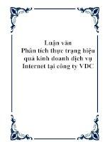 Luận văn - Phân tích thực trạng hiệu quả kinh doanh dịch vụ Internet tại công ty VDC ppt