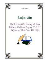 Luận văn: Hạch toán tiền lương và bảo hiểm xã hội ở công ty TNHH Dệt may Thái Sơn Hà Nội ppt