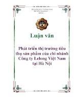 Luận văn: Phát triển thị trường tiêu thụ sản phẩm của chi nhánh Công ty Lelong Việt Nam tại Hà Nội ppt