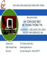 Chương 2- Các dạng tấn công và phần mềm độc hại_TS Hoàng Xuân Dậu