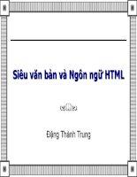 Bài giảng điện tử môn tin học: Siêu văn bản và Ngôn ngữ HTML doc