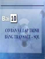 Bài giảng điện tử môn tin học: Cơ bản về lập trình bằng Transact_SQL potx