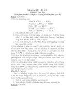 Kiểm tra HKI - Đề số 3: Môn thi: Hoá Học pdf