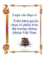 Luận văn thạc sỹ: Triển khai quyền chọn cổ phiếu trên thị trường chứng khoán Việt Nam pps