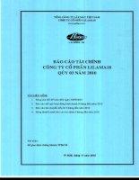 công ty cổ phần lilama 18 báo cáo tài chính quý 3 năm 2010