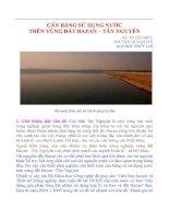 CÂN BẰNG SỬ DỤNG NƯỚC TRÊN VÙNG ĐẤT BAZAN – TÂY NGUYÊN pptx