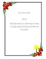 Đề tài: Giải pháp nâng cao chất lượng tín dụng tại Ngân Hàng Chính Sách Xã Hội tỉnh Nam Định pps