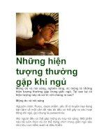 Những hiện tượng thường gặp khi ngủ ppt