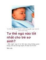 Tư thế ngủ nào tốt nhất cho trẻ sơ sinh? docx