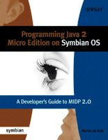 Programming Java 2 Micro Edition on Symbian OS A developer's guide to MIDP 2.0 phần 1 ppsx