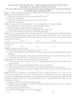 CÂU hỏi và bài tập cơ CHẾ DI TRUYỀN BIẾN dị TRONG đề TUYỂN SINH 2014