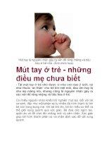 Mút tay là nguyên nhân gây ra vấn đề răng miệng và tiêu hóa ở trẻ nhỏ. (Ảnh docx