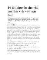 10 lời khuyên cho chị em làm việc với máy tính pdf