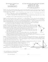 Đề thi học sinh giỏi lớp 10 chuyên Hà Tĩnh 2013 môn vật lý có đáp án