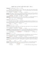 KIỂM TRA 15 PHÚT MÔN HÓA HỌC – ĐỀ 11 ppsx