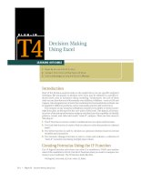 P L U G - I NT4Decision Making Using ExcelLEARNING OUTCOMES1. Describe the use of the IF pptx