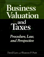 Business Valuation and Taxes Procedure Law and Perspective phần 1 pptx