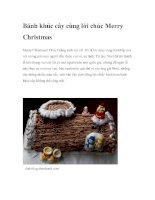 Bánh khúc cây cùng lời chúc Merry Christmas ppt