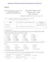 Tuyển tập các đề thi học sinh giỏi môn tiếng anh lớp 7 ( kèm đáp án)