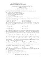 ĐỀ THAM KHẢO ÔN THI TỐT NGHIỆP THPT MÔN VẬT LÝ 12 - TRƯỜNG THPT PHAN CHÂU TRINH pdf