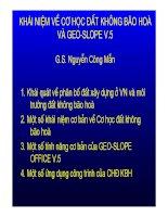 NGHIÊN CỨU CƠ HỌC ĐẤT KHÔNG BÃO HOÀ VÀ GEOSLOPE (GS NGUYỄN CÔNG MẪN)