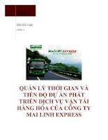 Quản lý thời gian và tiến độ dự án phát triển dịch vụ vận tải hàng hóa của công ty Mai Linh Express