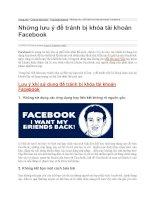 Những lưu ý để tránh bị khóa tài khoản facebook