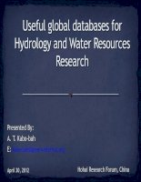 Useful global databases for Hydrology and Water Resources Research