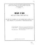 Nghiên cứu qui trình nhân giống lạc (đậu phộng) vụ thu động ở tỉnh Khánh Hòa