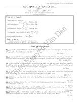 92 bài tập có đáp án về phương trình trạng thái và các ĐỊNH LUẬT về CHẤT KHÍ