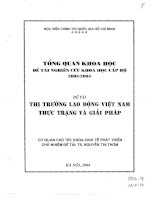 Thị trường lao động Việt Nam, thực trạng và giải pháp