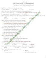 650 câu hỏi trắc nghiệm Sinh học lớp 10