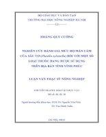 Luận văn thạc sĩ NGHIÊN CỨU ĐÁNH GIÁ MỨC ĐỘ MẪN CẢM CỦA SÂU TƠ (Plutella xylostella) ĐỐI VỚI MỘT SỐ LOẠI THUỐC ĐANG ĐƯỢC SỬ DỤNG TRÊN ĐỊA BÀN TỈNH VĨNH PHÚC