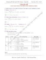 Chuyên đề giải toán phản ứng đốt cháy hiđrocacbon  BD HSG lớp 9