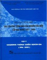 Các chương trình điều tra nghiên cứu biển cấp nhà nước 19772000 tập 5 chương trình biển khcn 06
