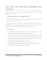 part time job interview questions and answers