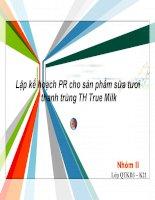 Tiểu luận môn Marketing Lập kế hoạch PR cho sản phẩm sữa tươi thanh trùng TH True Milk